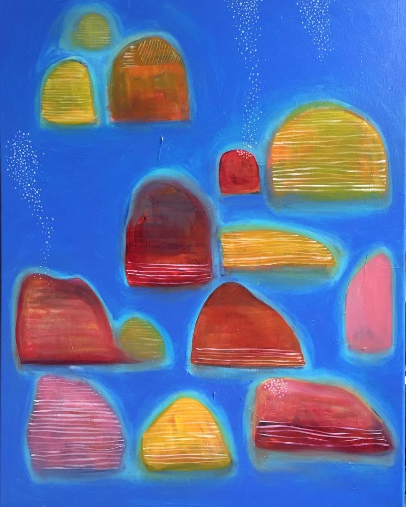 """""""Autumn Sun Showers"""", 2016 oil and acrylic on canvas, 28x36""""."""