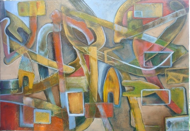 Town, 2008, acrylic and oil on canvas. SOLD