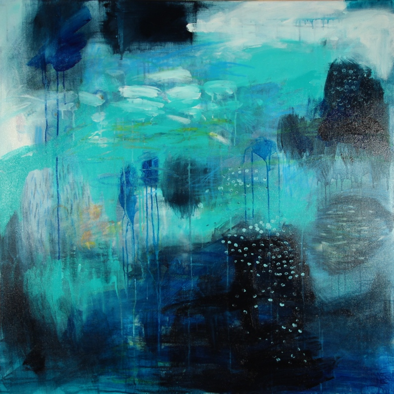 Storm Approaching, 2016, acrylic and mixed media on canvas, 110x110cm AVAILABLE