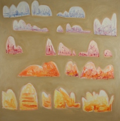 Monoliths, 2016, acrylic, oil and mixed media on canvas, 107x107cm NFS