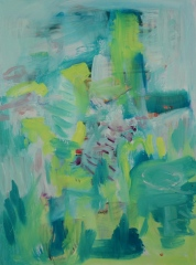 Winter Landscape in Green, 2016, acrylic and oil on wood panel, 40.5x30.5cm NFS