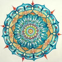 Mandala, 2014, acrylic and mixed media on canvas. SOLD