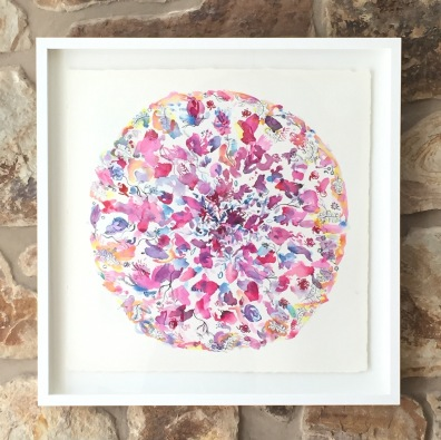"""Summer Petal Play"", float framed watercolour on Arches paper. Signed lower left. Magentas, crimson and yellows dominate the mandala."