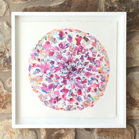 """""""Summer Petal Play"""", float framed watercolour on Arches paper. Signed lower left. Magentas, crimson and yellows dominate the mandala."""