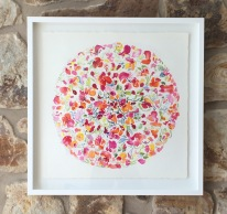 'Float and Flutter', watercolour on Arches paper, float framed, 74x74cm