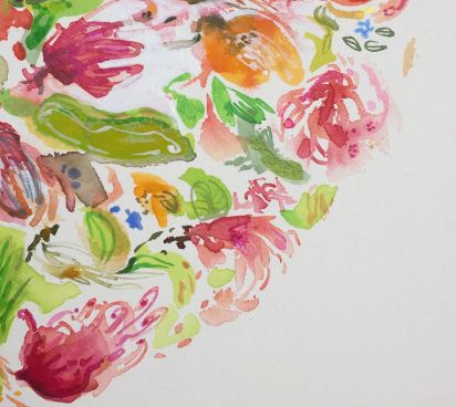 Detail, 'Roma's Garden'. Inspired by my mother, this work celebrates the creativity of women.