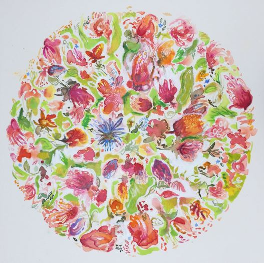 'Roma's Garden', watercolour on Arches paper, is inspired by my talented mother, an avid gardener. Unframed, 56x56cm