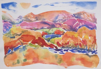 Colour study: some hills are different colours compared to their neighbours. Colours vary tremendously throughout the Ranges.