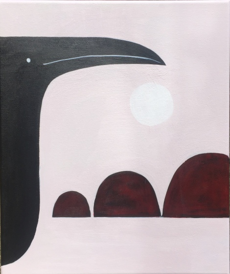 Bird and Hills, acrylic on canvas, 2019