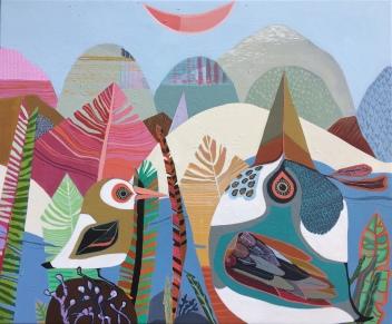Moon Birds, acrylic on canvas