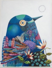 The Universe is in us all (bird and moon), mixed media on Arches illustration board